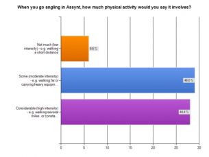 15. When you go angling in Assynt how much physical activity does this involve?