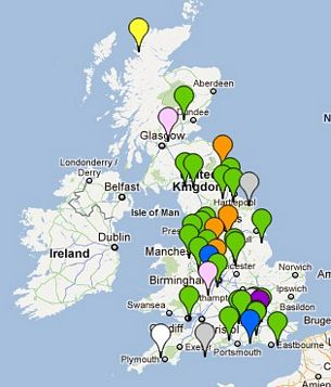 Sites and Organisations Visited Map